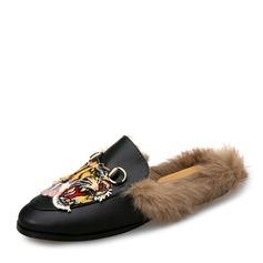 Женщины кожа Плоский каблук На плокой подошве Босоножки с пряжка мех обувь (086154823)