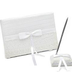 Delicate Bow/Sash/Lace Guestbook & Pen Set (101018171)