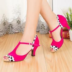 Женщины Замша На каблуках Сандалии Латино с Т-ремешок Обувь для танцев (053067471)