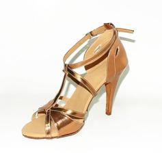 De mujer Cuero Tacones Sandalias Danza latina con Tira T Zapatos de danza (053013181)