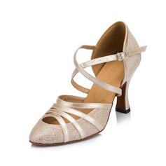 Женщины кожа На каблуках На каблуках Бальные танцы с Ремешок на щиколотке Обувь для танцев (053062424)