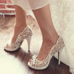Женщины Кружева Высокий тонкий каблук Открытый мыс Обувь для пляжной свадьбы с Лента (047126532)