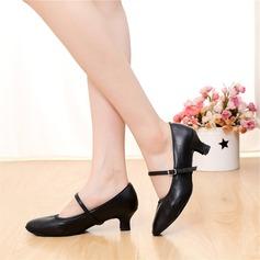 Женщины Натуральня кожа На каблуках Обувь для Персонала с пряжка Обувь для танцев (053108023)