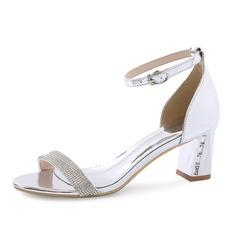 Женщины Лакированная кожа Устойчивый каблук Сандалии Открытый мыс с горный хрусталь обувь (087080105)