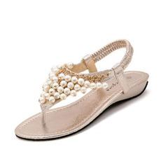 кожа Вид каблука Сандалии с Имитация Перл обувь (087063154)