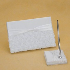 Flowers Design Bow Guestbook & Pen Set (101025561)