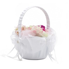 Classic Flower Basket in Satin With Faux Pearl (102018103)