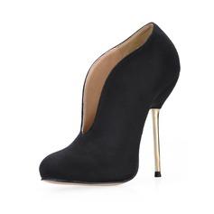Женщины Замша Высокий тонкий каблук Закрытый мыс Полусапоги обувь (088017984)
