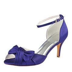 Women's Silk Like Satin Stiletto Heel Peep Toe Pumps With Ruffles (047182283)