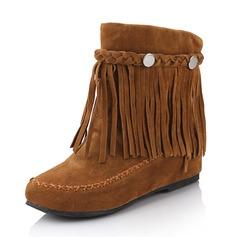 Женщины Замша Плоский каблук На плокой подошве Ботинки Сапоги до середины голени с кисточкой обувь (088175648)