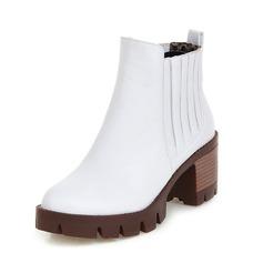 Женщины кожа Устойчивый каблук Полусапоги обувь (088092730)