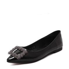 Женщины PU Плоский каблук На плокой подошве Закрытый мыс с горный хрусталь обувь (086139679)