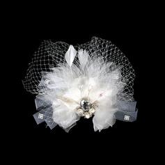 великолепный Искусственного шелка/сетка Цветы и перья (042016411)