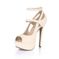 Женщины Лакированная кожа Высокий тонкий каблук Сандалии Платформа Открытый мыс с пряжка обувь (085026446)