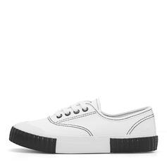 Женщины Холст Плоский каблук На плокой подошве Закрытый мыс с Шнуровка обувь (086164462)