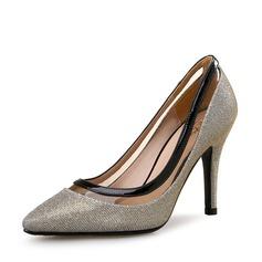 Женщины Мерцающая отделка Высокий тонкий каблук На каблуках Закрытый мыс с Мерцающая отделка Соединение врасщеп обувь (085113646)