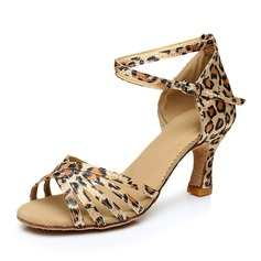 Women's Satin Heels Sandals Latin With Ankle Strap Dance Shoes (053092245)