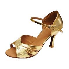 Женщины Мерцающая отделка Лакированная кожа На каблуках Сандалии Латино Свадьба партия Обувь для танцев (053013146)
