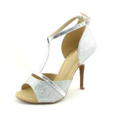 Женщины Мерцающая отделка На каблуках Сандалии Латино с Т-ремешок Обувь для танцев (053020131)