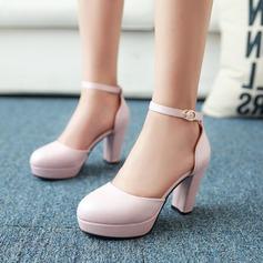 Naisten Keinonahasta Chunky heel Sandaalit Avokkaat Suljettu toe jossa Solki kengät (085111868)