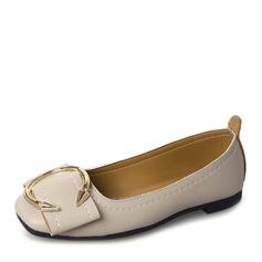 Женщины кожа На плокой подошве Закрытый мыс с Баттон обувь (086165207)