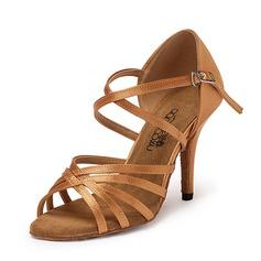 Mulheres Cetim Sandálias Latino Sapatos de dança (053151551)