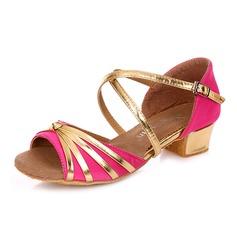 Детская обувь Атлас кожа На каблуках Сандалии Латино с Ремешок на щиколотке Обувь для танцев (053090305)