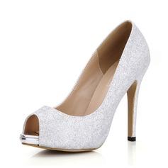 Женщины Мерцающая отделка Высокий тонкий каблук Сандалии Открытый мыс обувь (087072664)