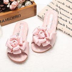 девичий Открытый мыс дерматин Плоский каблук Тапочки Обувь для девочек с Атласный бант (207112542)