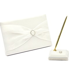 Simples Strass/Arco Livro de visitas & conjunto de canetas (101018185)