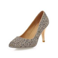 Funkelnde Glitzer Stöckel Absatz Absatzschuhe Geschlossene Zehe Schuhe (085044138)
