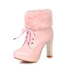 Женщины кожа Устойчивый каблук Полусапоги обувь (088074026)