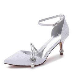 Женщины Кружева шелка как атласное Высокий тонкий каблук Закрытый мыс На каблуках с бантом Имитация Перл горный хрусталь жемчуг (047147469)