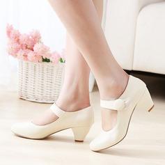 Женщины кожа Устойчивый каблук с На липучке обувь (085114620)