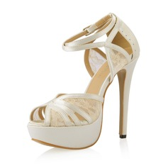 Женщины Атлас Высокий тонкий каблук На каблуках Сандалии с пряжка Вышитые кружева (047054104)