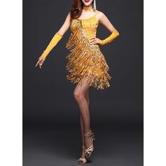 Женщины Одежда для танцев полиэстер Латино Платья (115087954)