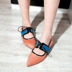 Женщины Замша Плоский каблук На плокой подошве с Шнуровка обувь (086123499)