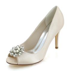 Женщины шелка как атласное Высокий тонкий каблук На каблуках с жемчуг (047146228)