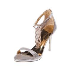 Женщины кожа Высокий тонкий каблук Сандалии с кисточкой обувь (087050254)