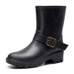 Женщины PU Устойчивый каблук Резиновые сапоги с пряжка обувь (088201086)