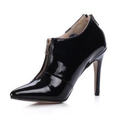 Lackleder Stöckel Absatz Stiefelette mit Reißverschluss Schuhe (088036347)