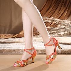 Женщины ткань На каблуках Сандалии Латино с Ремешок на щиколотке Обувь для танцев (053114576)