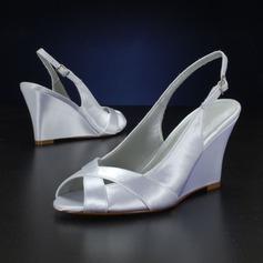 Mulheres como o cetim de seda Plataforma Sandálias Calços (047143534)