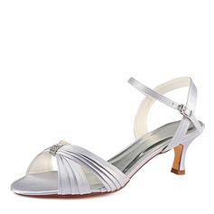 Women's Silk Like Satin Stiletto Heel Sandals With Ruffles Crystal (047185261)