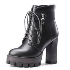 Женщины кожа Устойчивый каблук На каблуках Платформа Закрытый мыс Ботинки Полусапоги с Застежка-молния Шнуровка обувь (088095925)
