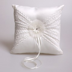 Dreamy Ring Pillow in Satin/Lace With Rhinestones (103073720)