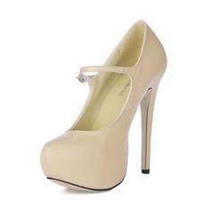 Vrouwen Kunstleer Stiletto Heel Pumps Plateau Closed Toe met Gesp schoenen (085016683)