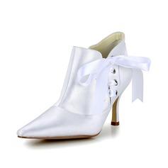 Женщины Атлас Высокий тонкий каблук Ботинки Закрытый мыс На каблуках с бантом Шнуровка (047048545)