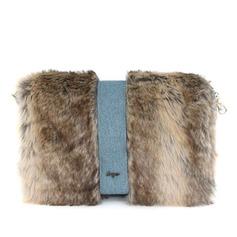 Fashional Tecido com Penas/ Pele Embreagens/Moda Bolsas (012032882)