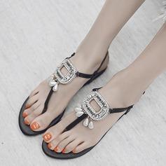 Mulheres Couro verdadeiro Sem salto Sandálias Beach Wedding Shoes com Fivela Pérola Imitação (047125415)